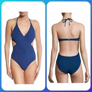 NWOT Tory Burch Solid Wrap One-piece Swimsuit
